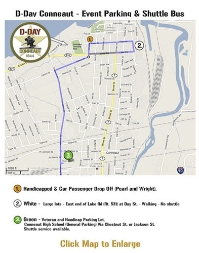 D-Day Ohio Shuttle Parking Map